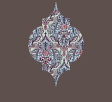 Botanical Moroccan Doodle Pattern in Navy Blue, Red & Grey Womens Fitted T-Shirt