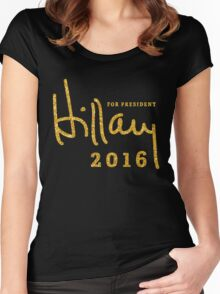 Black Hillary Clinton Shirts 2016 Gold Sequins Women's Fitted Scoop T-Shirt