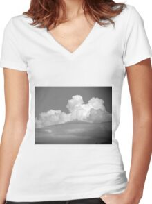 Black And White Cloud 1 Women's Fitted V-Neck T-Shirt