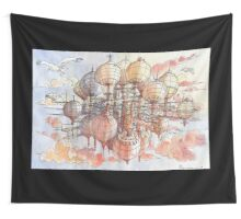 The flying village! Wall Tapestry
