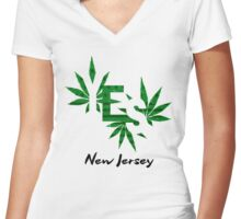 Cannabis New Jersey Legalization Women's Fitted V-Neck T-Shirt