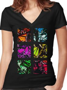 Fragmented Monarchy in Sharpie (Rainbow Edition) Women's Fitted V-Neck T-Shirt