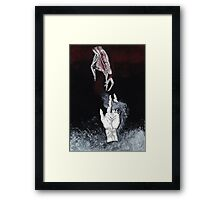 Shaking hands with the dark parts of my thoughts Framed Print