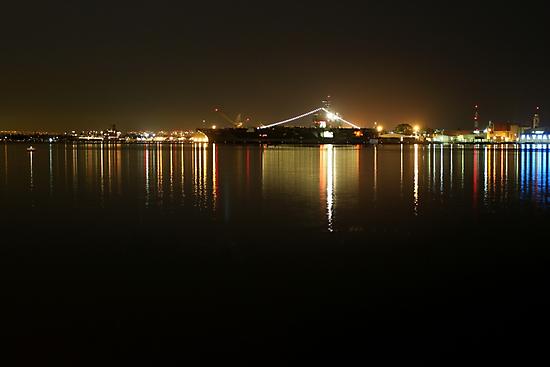 San Diego Navy Harbor Night by Henrik Lehnerer