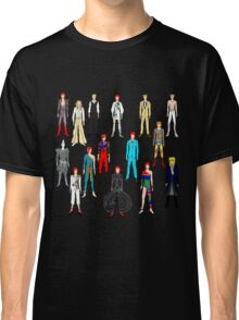 Bowie Scattered Fashion on Black Classic T-Shirt