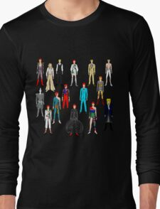 Bowie Scattered Fashion on Black Long Sleeve T-Shirt