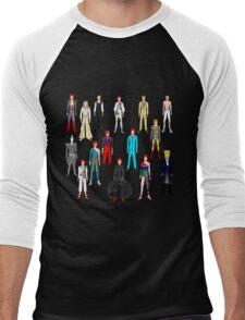 Bowie Scattered Fashion on Black Men's Baseball ¾ T-Shirt
