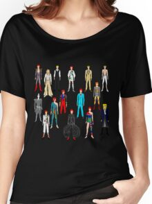 Bowie Scattered Fashion on Black Women's Relaxed Fit T-Shirt