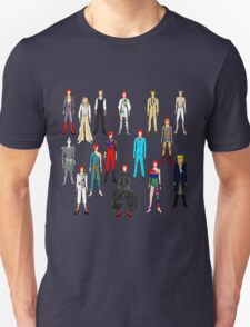 Bowie Scattered Fashion on Black Unisex T-Shirt