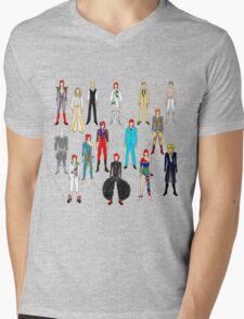 Bowie Scattered Fashion on Black Mens V-Neck T-Shirt