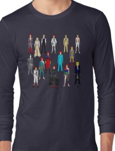 Bowie Scattered Fashion on Gray Long Sleeve T-Shirt