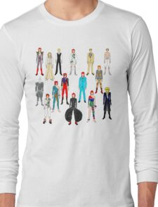Bowie Scattered Fashion on White Long Sleeve T-Shirt