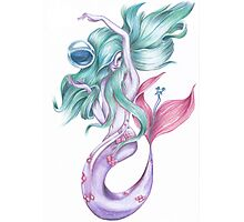 Blue Hair Mermaid Photographic Print