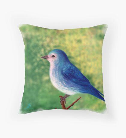 Little blue bird Throw Pillow