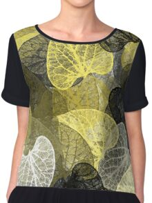 Black And Gold Leaf Abstract Chiffon Top