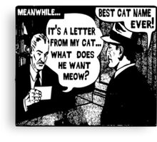 Funny Comic- My Cat. What Does He Want Meow? Canvas Print