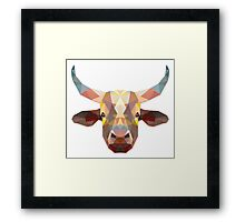 Polygonal Cow Framed Print