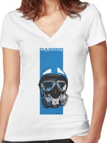 Gasser-Blue Women's Fitted V-Neck T-Shirt