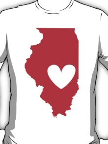 Illinois is Where the Heart is (Red) T-Shirt