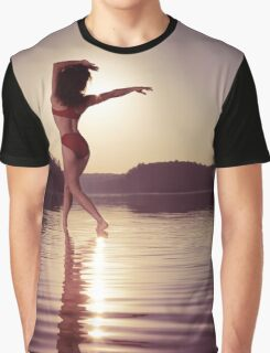 Woman dancing in morning sunlight on water art photo print Graphic T-Shirt