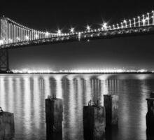 San Francisco Bay Bridge Illuminated BW Sticker