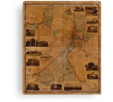 Map Of Worcester 1880 Canvas Print