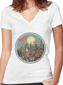 philadelphia panorama 3 Women's Fitted V-Neck T-Shirt