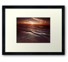 Dramatic sunset at lake Huron Grand Bend art photo print Framed Print