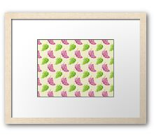 Green & Red Grapes Pattern Remix Framed Print
