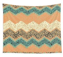 Chevron,zigzag,floral,collage,mixed,pattern,brown,yellow,beige Wall Tapestry
