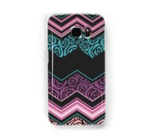 Chevron,zigzag,floral,collage,mixed,pattern,purple,pink,white,lavender,peach,black,teal, ,roses,trendy,modern,contemporary,girly,cute,decorative,decor Samsung Galaxy Case/Skin