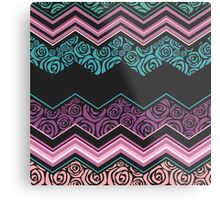 Chevron,zigzag,floral,collage,mixed,pattern,purple,pink,white,lavender,peach,black,teal, ,roses,trendy,modern,contemporary,girly,cute,decorative,decor Metal Print