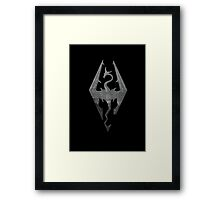 Skyrim logo blue mountain background engraved Framed Print