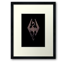 Skyrim logo red mountain background engraved Framed Print