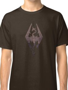 Skyrim logo red mountain background engraved Classic T-Shirt