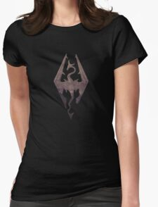 Skyrim logo red mountain background engraved Womens Fitted T-Shirt