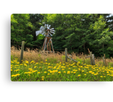 Windmill And Flowers Canvas Print