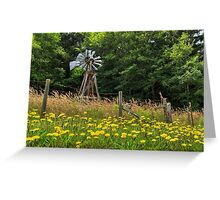 Windmill And Flowers Greeting Card