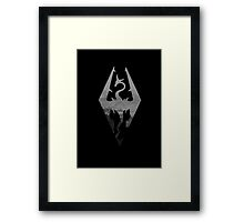 Skyrim logo blue mountain background Framed Print