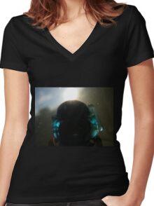Backlit Diver Women's Fitted V-Neck T-Shirt