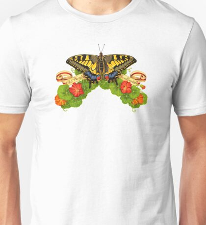 Old World Swallowtail Butterfly and Nasturtiums T-Shirt
