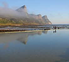 Mountains reflecting in tidal pool by Lee Jones