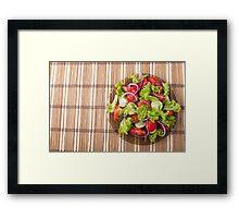 Top view of vegetarian salad on a bamboo mat Framed Print