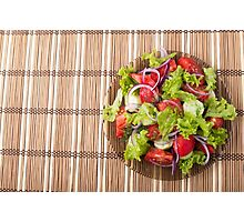 Top view of vegetarian salad on a bamboo mat Photographic Print