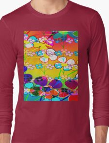 Abstract Colorful Flower Art Long Sleeve T-Shirt
