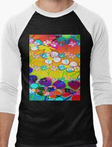Abstract Colorful Flower Art Men's Baseball ¾ T-Shirt