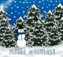 Merry Christmas Snowman Winter Scene Greeting Card by Linda Allan