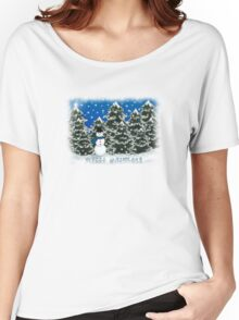Merry Christmas Snowman Winter Scene Greeting Card Women's Relaxed Fit T-Shirt
