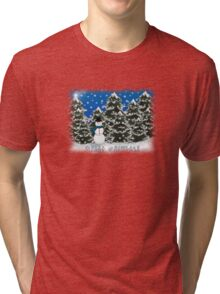 Merry Christmas Snowman Winter Scene Greeting Card Tri-blend T-Shirt