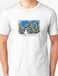 Merry Christmas Snowman Winter Scene Greeting Card T-Shirt